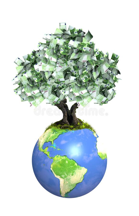 Δέντρο χρημάτων με τα ευρο- τραπεζογραμμάτια στη γη διανυσματική απεικόνιση