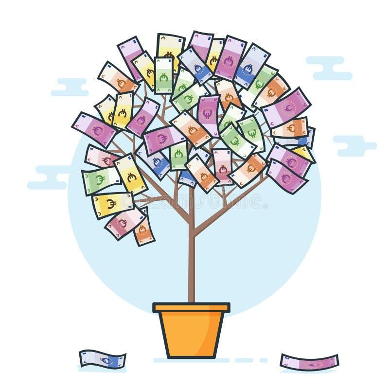 Δέντρο χρημάτων σε ευρώ Ευρο- δέντρο χρημάτων τραπεζογραμματίων Αυξανόμενη έννοια χρημάτων ελεύθερη απεικόνιση δικαιώματος