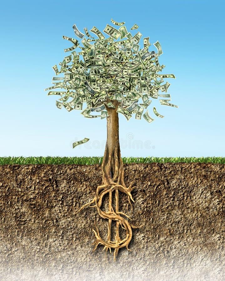 Δέντρο χρημάτων στην εδαφολογική διατομή που παρουσιάζει ρίζες σημαδιών αμερικανικών δολαρίων ελεύθερη απεικόνιση δικαιώματος