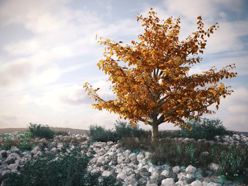 Δέντρο χρημάτων στο τοπίο ερήμων - σύμβολο της επιτυχούς επιχειρησιακής έννοιας απεικόνιση αποθεμάτων