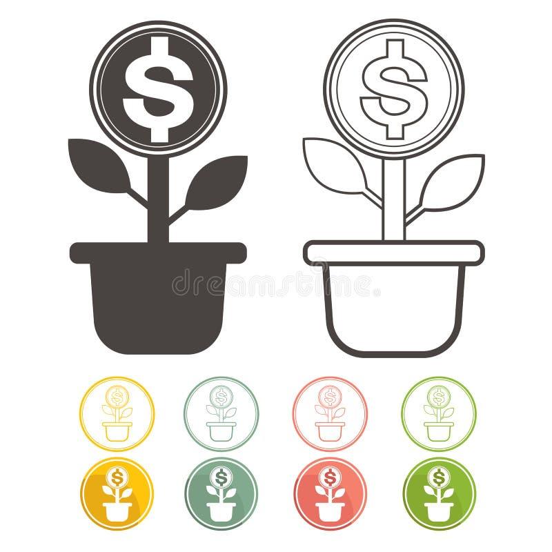 Δέντρο χρημάτων Dolar πράσινο με τα εικονίδια καθορισμένα το διανυσματικό νόμισμα απεικόνιση αποθεμάτων