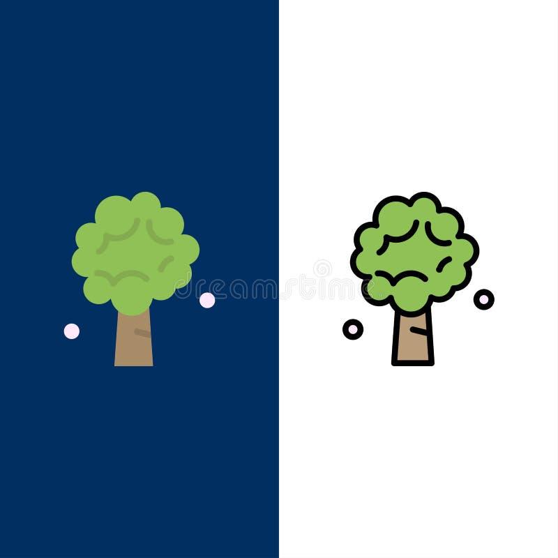Δέντρο, Apple, δέντρο της Apple, φύση, εικονίδια ανοίξεων Επίπεδος και γραμμή γέμισε το καθορισμένο διανυσματικό μπλε υπόβαθρο ει ελεύθερη απεικόνιση δικαιώματος