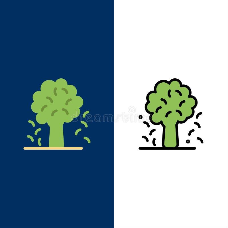 Δέντρο, Apple, δέντρο της Apple, φύση, εικονίδια ανοίξεων Επίπεδος και γραμμή γέμισε το καθορισμένο διανυσματικό μπλε υπόβαθρο ει διανυσματική απεικόνιση