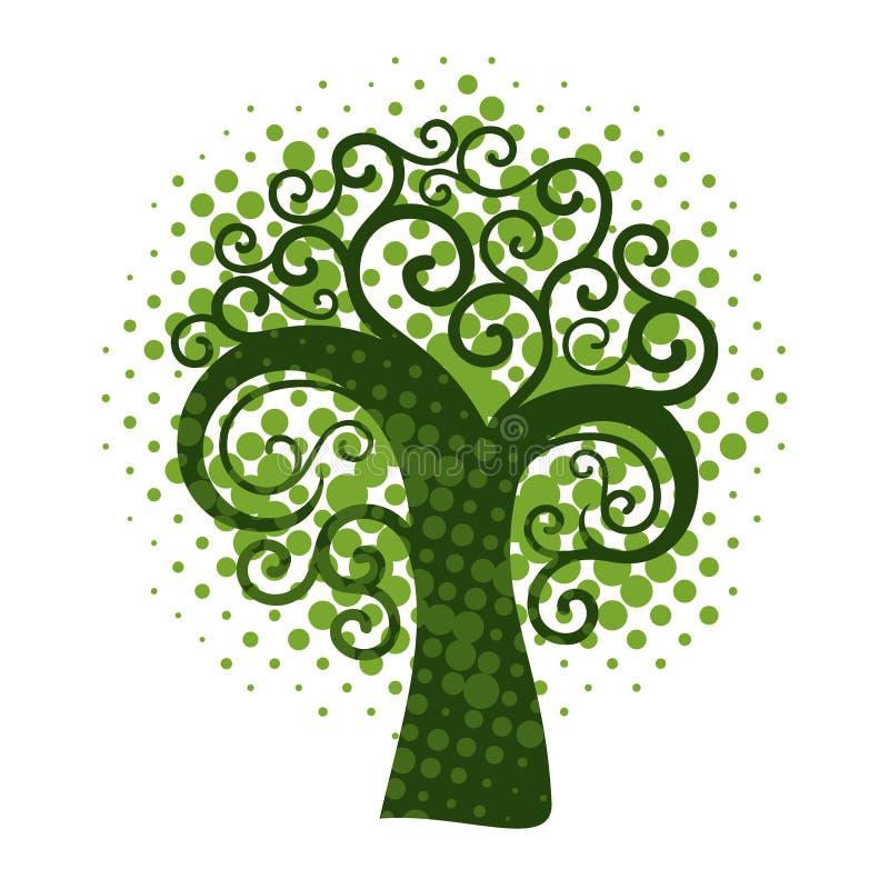 Δέντρο Grunge swirly διανυσματική απεικόνιση