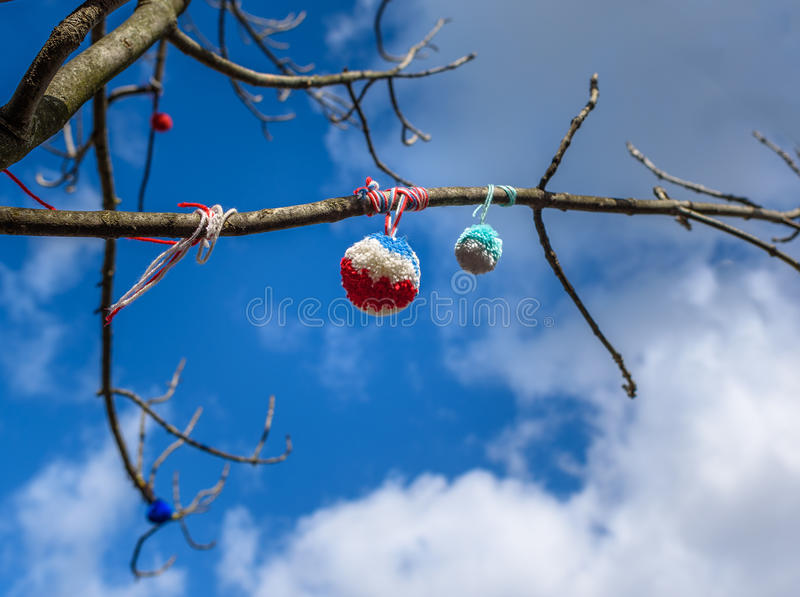 Δέντρο Pom Poms στοκ εικόνα με δικαίωμα ελεύθερης χρήσης