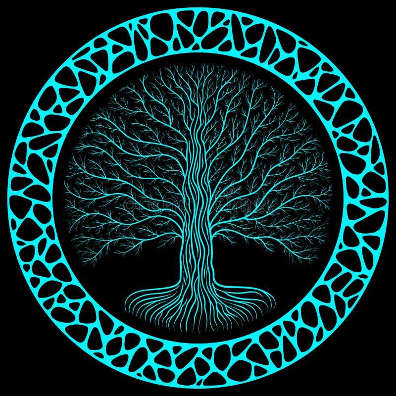 Δέντρο Yggdrasil Druidic τη νύχτα, στρογγυλή σκιαγραφία, μαύρο και μπλε λογότυπο Γοτθικός αρχαίου οργανικού ή πετρών τοίχος ύφους απεικόνιση αποθεμάτων