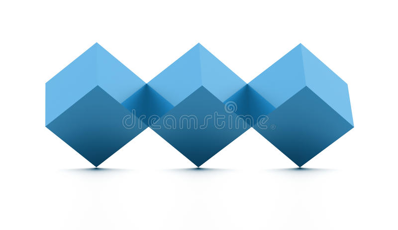Δέντρων έννοια κύβων που δίνεται μπλε απομονωμένη διανυσματική απεικόνιση