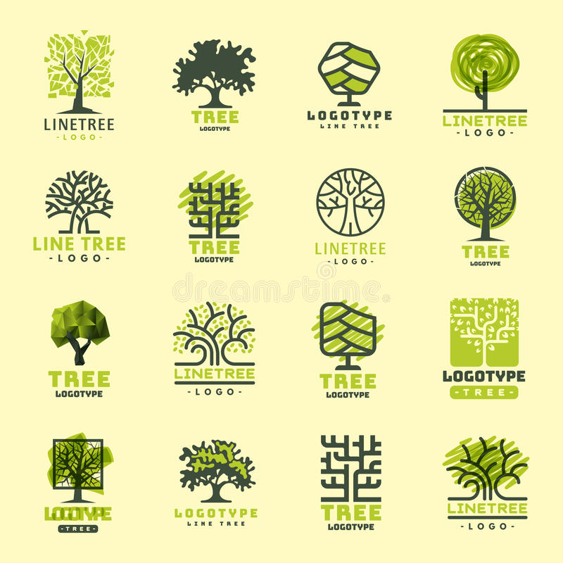 Δέντρων το υπαίθριο ταξιδιού πράσινο κωνοφόρο φυσικό διακριτικό διακριτικών σκιαγραφιών δασικό ολοκληρώνει το κομψό διάνυσμα γραμ απεικόνιση αποθεμάτων