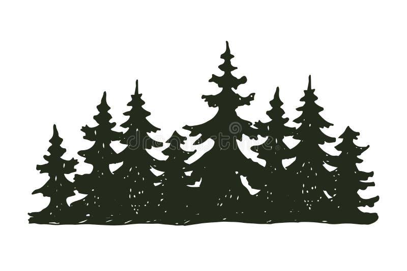 Δέντρων υπαίθριο κωνοφόρο φυσικό διακριτικό σκιαγραφιών ταξιδιού μαύρο, κομψοί κέδρος κλάδων ανώτατων πεύκων και περίληψη φύλλων  ελεύθερη απεικόνιση δικαιώματος