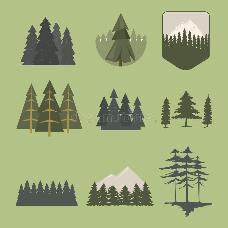 Δέντρων υπαίθριο ταξιδιού πεύκων σκιαγραφιών κωνοφόρο φυσικό διάνυσμα σχεδίων μίσχων φύλλων φυτών κέδρων κλάδων ανώτατων πεύκων κ απεικόνιση αποθεμάτων