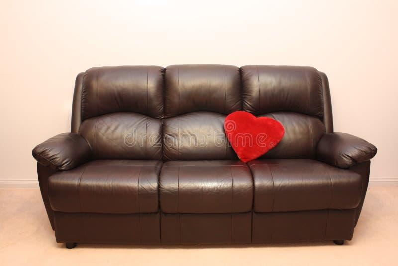 δέρμα καρδιών καναπέδων στοκ εικόνα