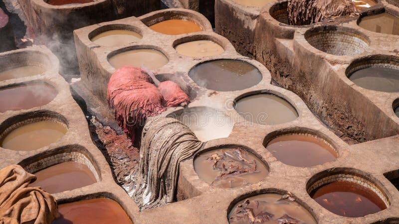 Δέρμα που πεθαίνει σε έναν παραδοσιακό φλοιό στην πόλη Fes, Μαρόκο στοκ φωτογραφία