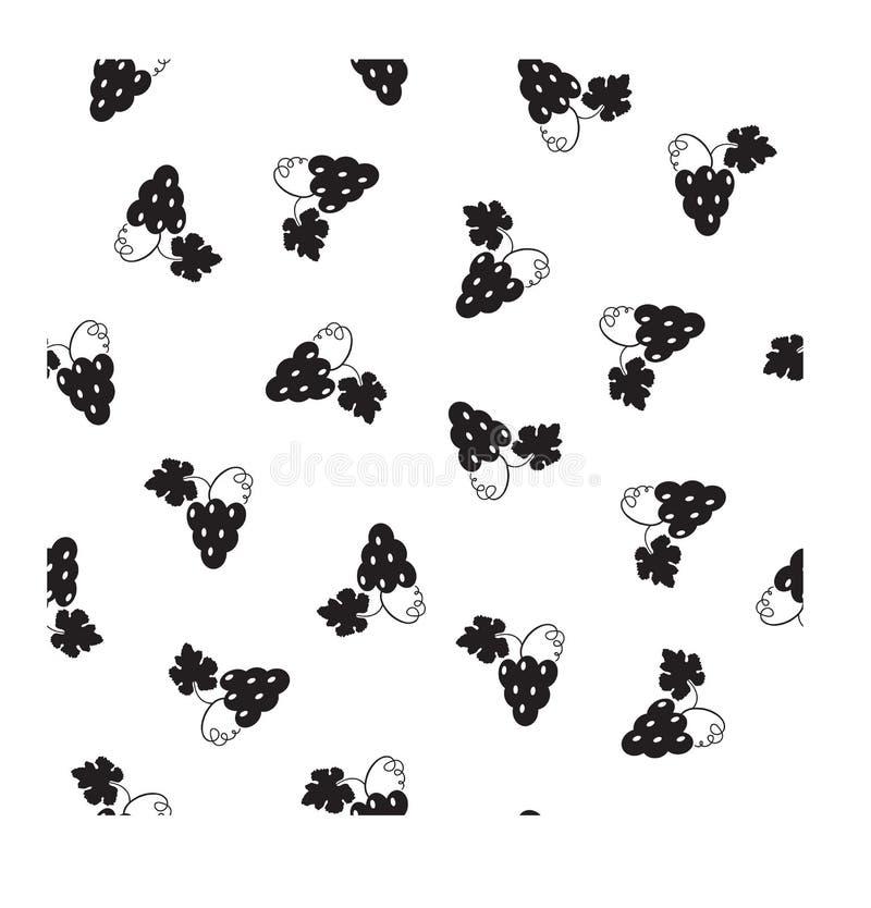 Δέσμες των σταφυλιών Άνευ ραφής διανυσματικό σχέδιο σε ένα επίπεδο ύφος σε ένα άσπρο υπόβαθρο απεικόνιση αποθεμάτων