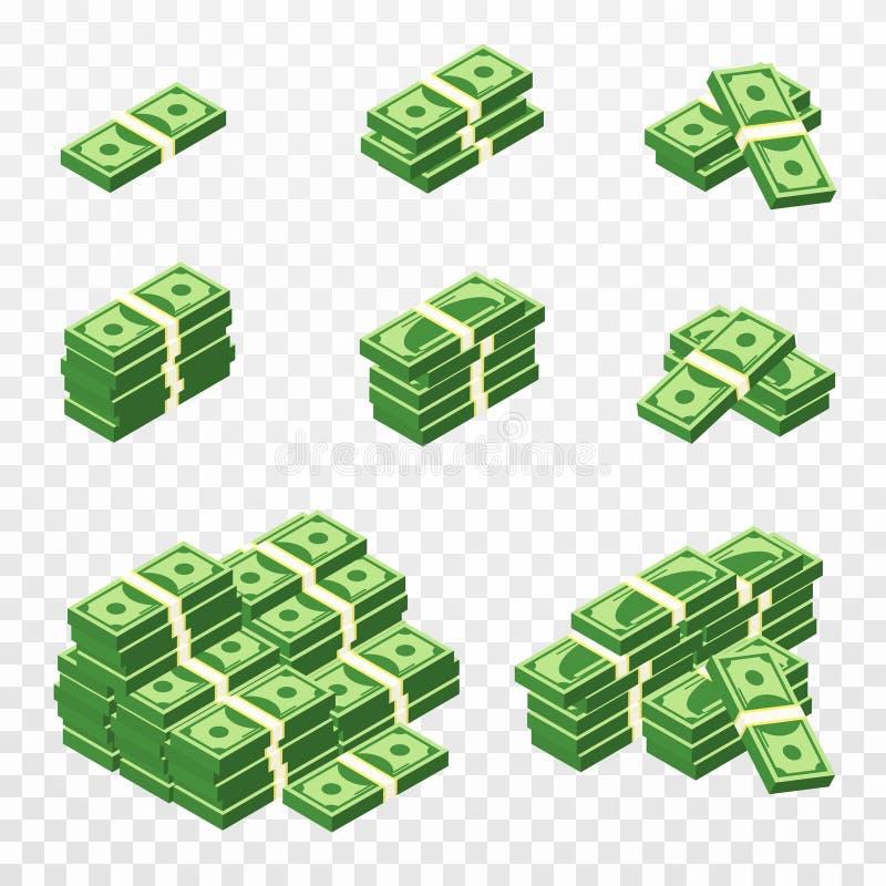 Δέσμες των χρημάτων στο τρισδιάστατο ύφος κινούμενων σχεδίων Σύνολο διαφορετικών πακέτων των λογαριασμών δολαρίων Isometric πράσι απεικόνιση αποθεμάτων