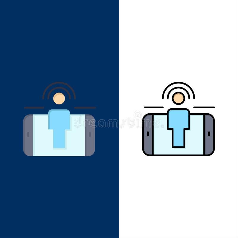 Δέσμευση, χρήστης, δέσμευση χρηστών, εικονίδια μάρκετινγκ Επίπεδος και γραμμή γέμισε το καθορισμένο διανυσματικό μπλε υπόβαθρο ει διανυσματική απεικόνιση