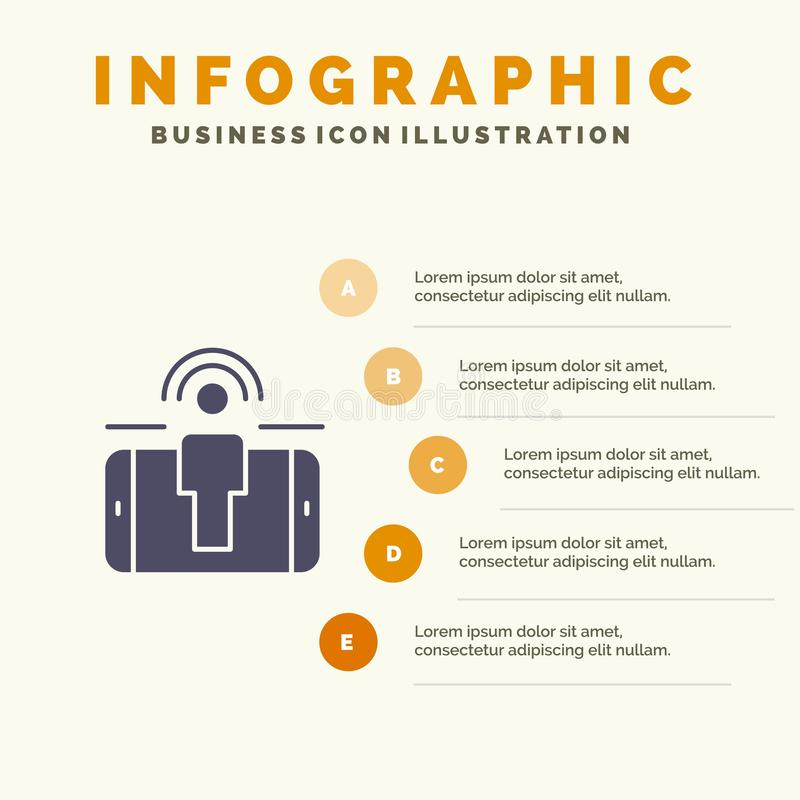 Δέσμευση, χρήστης, δέσμευση χρηστών, στερεό εικονίδιο Infographics 5 μάρκετινγκ υπόβαθρο παρουσίασης βημάτων απεικόνιση αποθεμάτων