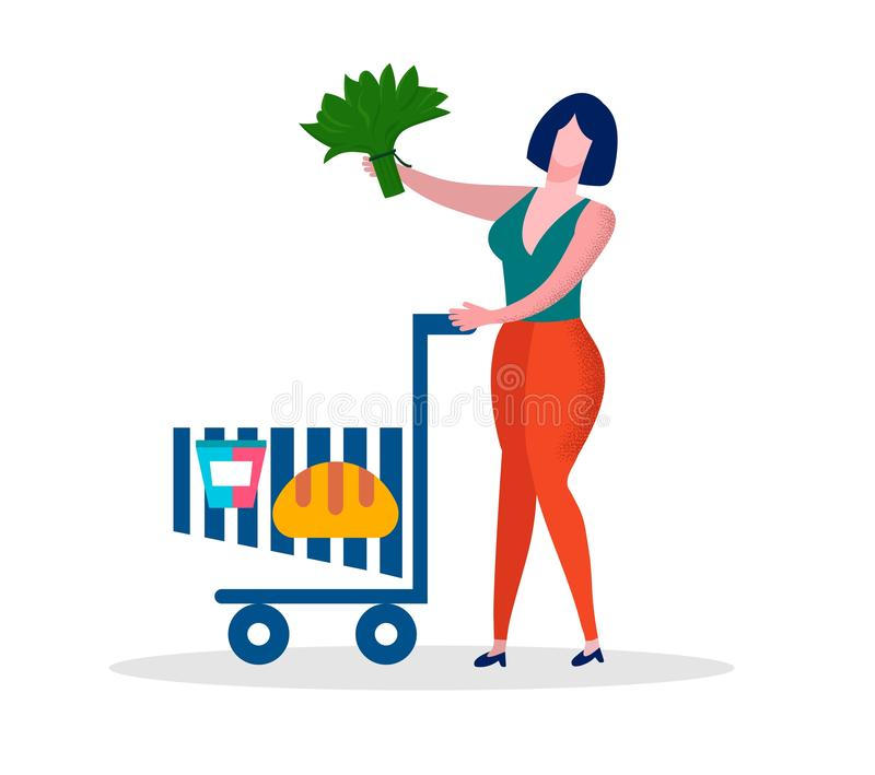 Δέσμη λαβής γυναικών του καροτσακιού αγορών ώθησης πρασίνων ελεύθερη απεικόνιση δικαιώματος