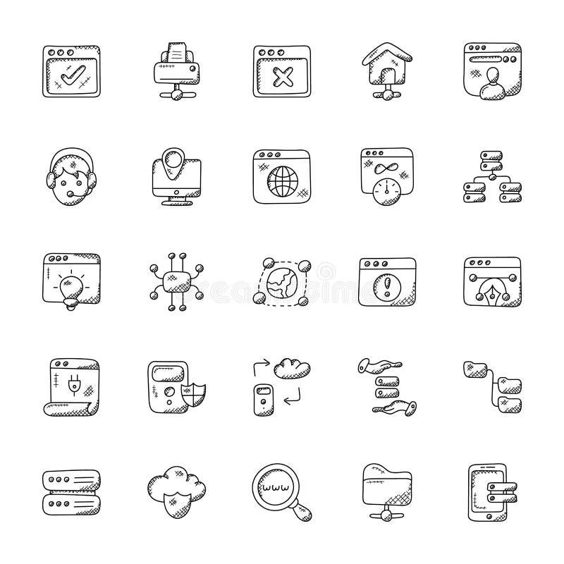 Δέσμη του Ιστού που φιλοξενεί τα εικονίδια Doodle ελεύθερη απεικόνιση δικαιώματος