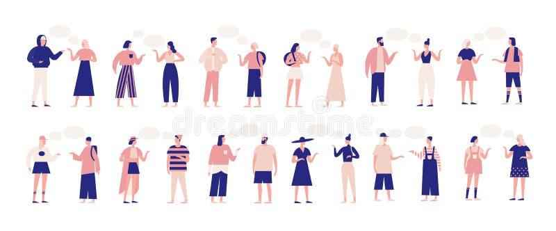 Δέσμη των ανθρώπων που μιλούν ή που μιλούν ο ένας στον άλλο Συλλογή των κουβεντιάζοντας ανδρών και των γυναικών με τις λεκτικές φ διανυσματική απεικόνιση