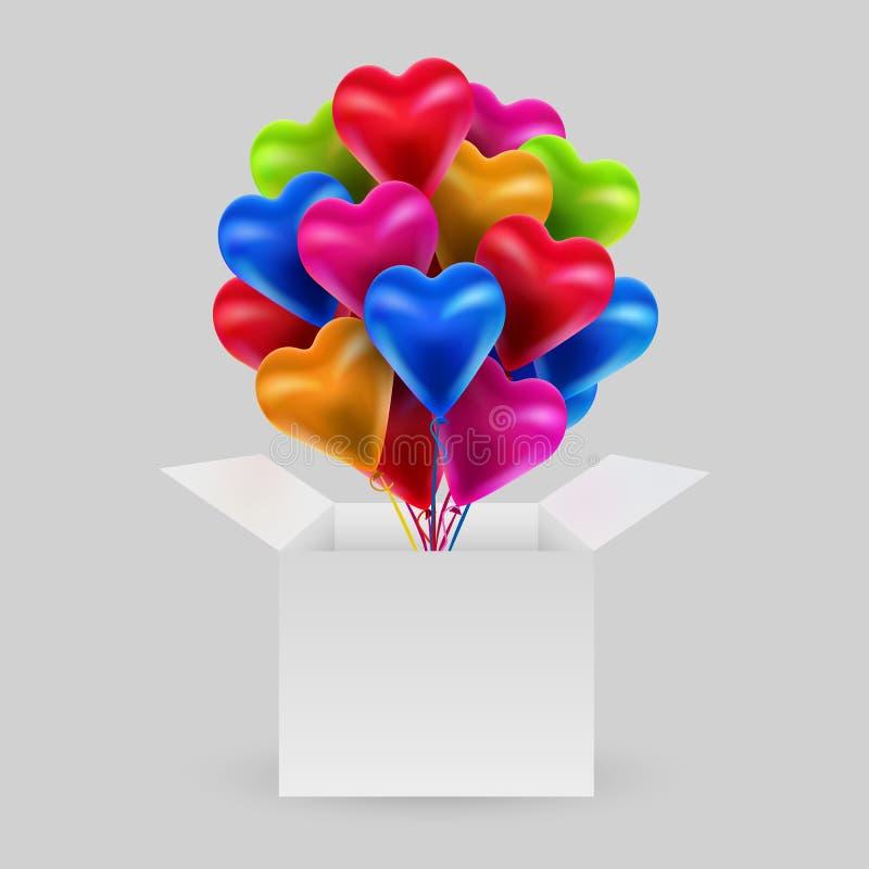 Δέσμη των ζωηρόχρωμων μπαλονιών με μορφή μιας καρδιάς με ένα ανοικτό κιβώτιο Ημέρα βαλεντίνων Η έννοια της αγάπης διανυσματική απεικόνιση