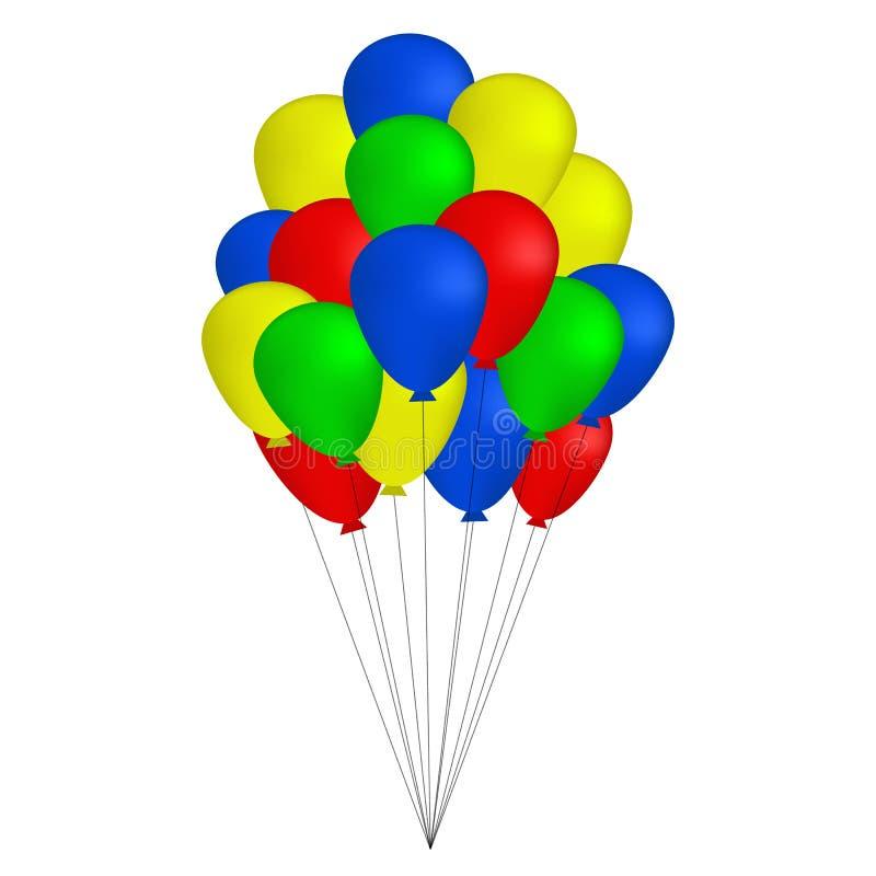 Δέσμη των ζωηρόχρωμων μπαλονιών που απομονώνονται στο άσπρο υπόβαθρο, διάνυσμα διανυσματική απεικόνιση