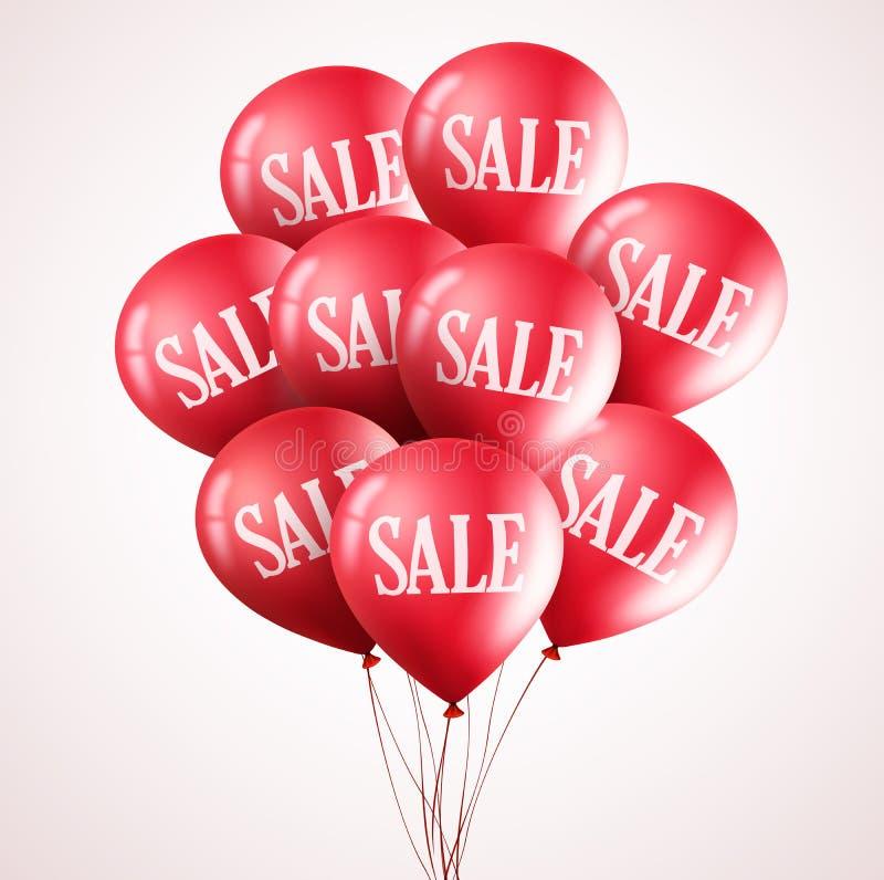 Δέσμη των κόκκινων διανυσματικών μπαλονιών με το κείμενο πώλησης που πετά επάνω στο άσπρο υπόβαθρο ελεύθερη απεικόνιση δικαιώματος
