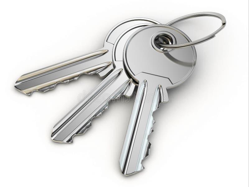 Δέσμη των κλειδιών στο άσπρο υπόβαθρο. απεικόνιση αποθεμάτων
