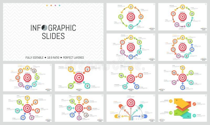 Δέσμη των μινιμαλιστικών infographic σχεδιαγραμμάτων σχεδίου Στρογγυλά στοιχεία με τα βέλη που τοποθετούνται γύρω από το στόχο πυ ελεύθερη απεικόνιση δικαιώματος