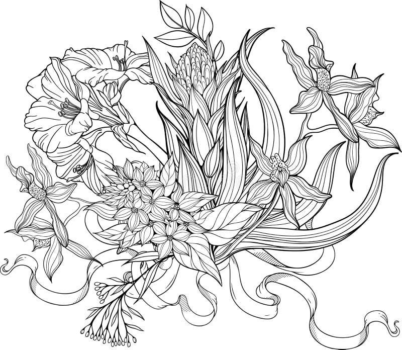 Δέσμη των λουλουδιών και ενός λωρίδας Χρωματίζοντας σελίδα διανυσματική απεικόνιση