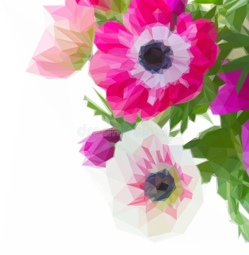 Δέσμη των λουλουδιών anemone ελεύθερη απεικόνιση δικαιώματος