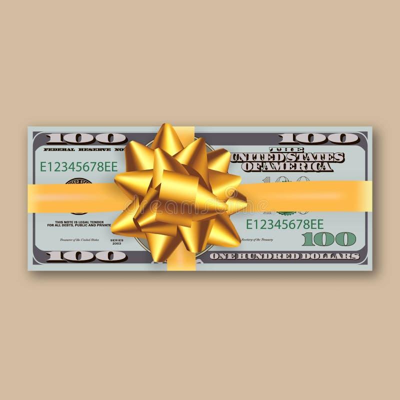 Δέσμη των δολαρίων, χρυσή κορδέλλα με το τόξο ελεύθερη απεικόνιση δικαιώματος