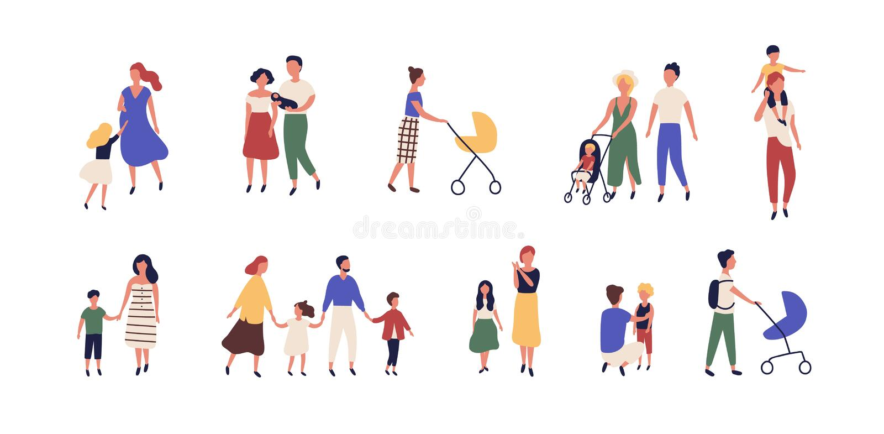Δέσμη των περπατώντας οικογενειών Συλλογή των μητέρων, των πατέρων και των παιδιών που ξοδεύουν το χρόνο από κοινού Σύνολο stroll διανυσματική απεικόνιση