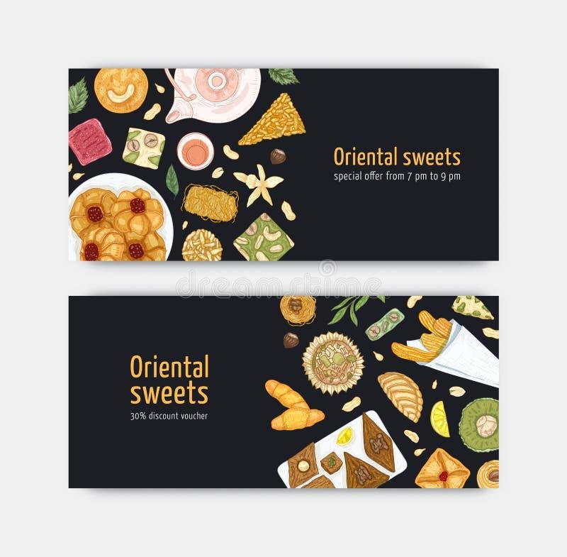 Δέσμη των προτύπων δελτίων ή αποδείξεων με τα γλυκά ασιατικά επιδόρπια στα πιάτα Παραδοσιακές νόστιμες παρασκευές, εύγευστες διανυσματική απεικόνιση