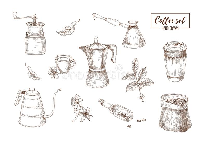 Δέσμη των ρεαλιστικών σχεδίων των εργαλείων για την παρασκευή καφέ που επισύρεται την προσοχή με τις γραμμές περιγράμματος στο άσ ελεύθερη απεικόνιση δικαιώματος