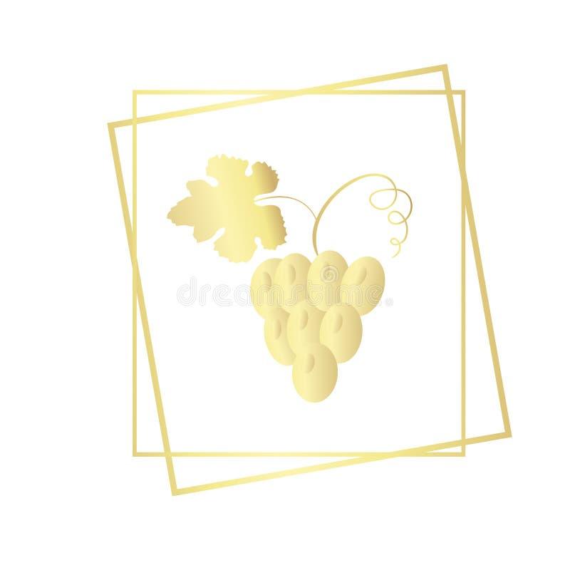 Δέσμη των σταφυλιών στο πλαίσιο Διανυσματική χρυσή κλίση απεικόνισης που απομονώνεται στο υπόβαθρο wh ite διανυσματική απεικόνιση