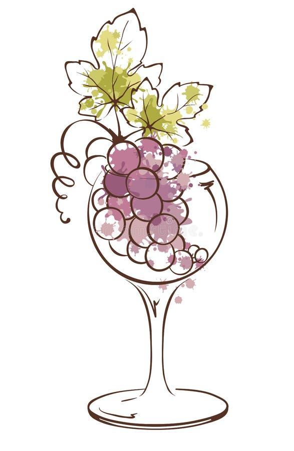 Δέσμη των σταφυλιών wineglass απεικόνιση αποθεμάτων