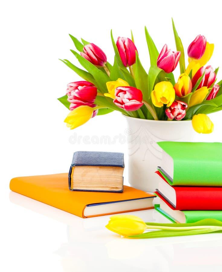 Δέσμη των τουλιπών και των βιβλίων άνοιξη στοκ εικόνα