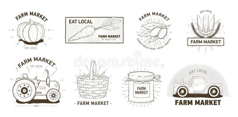 Δέσμη των logotypes για την αγροτική αγορά, παραγόμενα στην ίδια περιοχή λαχανικά, οργανικά προϊόντα Το σύνολο λογότυπων ή τα εμβ απεικόνιση αποθεμάτων