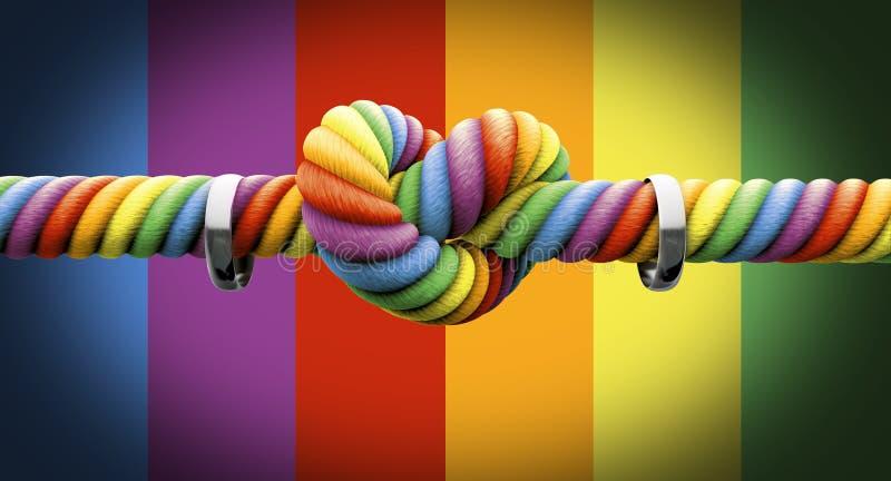 Δέστε τον κόμβο με το γάμο ομοφυλοφίλων δαχτυλιδιών ελεύθερη απεικόνιση δικαιώματος