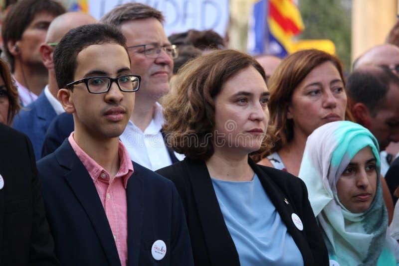 Δήμαρχος της Μαδρίτης Ada Colau στην εκδήλωση ενάντια στην τρομοκρατία στοκ φωτογραφίες με δικαίωμα ελεύθερης χρήσης