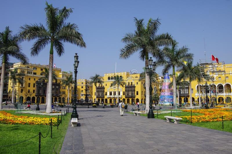Δήμαρχος Plaza (στο παρελθόν, Plaza de Armas) στη Λίμα, Περού στοκ εικόνες με δικαίωμα ελεύθερης χρήσης