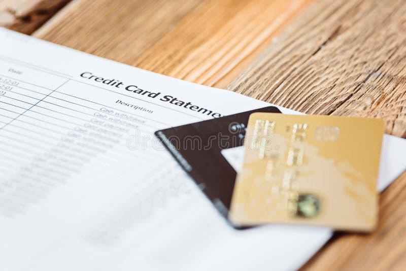 Δήλωση απολογισμού πιστωτικών καρτών στοκ εικόνα