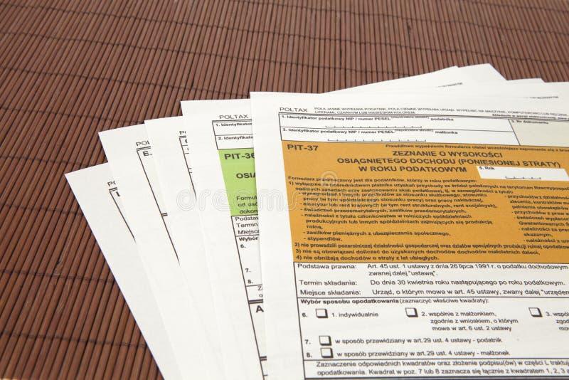 Δήλωση ΚΟΙΛΩΜΑΤΩΝ - πολωνικό φορολογικό έγγραφο στοκ εικόνα