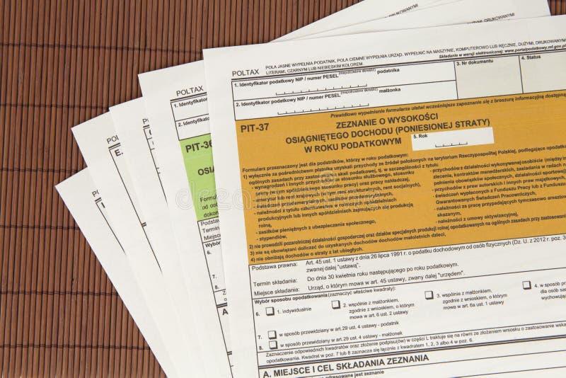 Δήλωση ΚΟΙΛΩΜΑΤΩΝ - πολωνικό φορολογικό έγγραφο στοκ φωτογραφίες με δικαίωμα ελεύθερης χρήσης