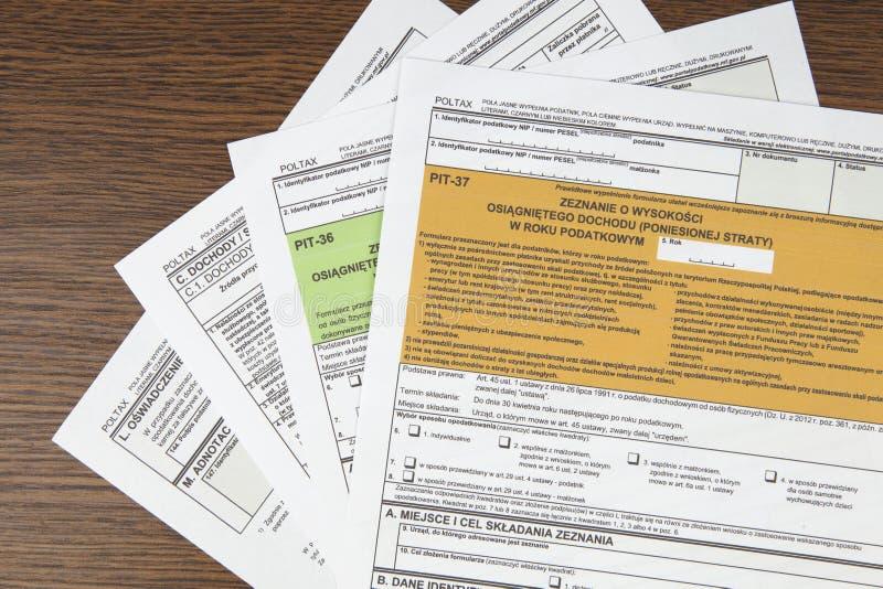 Δήλωση ΚΟΙΛΩΜΑΤΩΝ - πολωνικό φορολογικό έγγραφο στοκ εικόνες