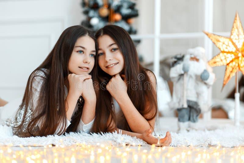 Δίδυμα κοριτσιών μπροστά από fir-tree Νέα παραμονή έτους ` s Χριστούγεννα Άνετες διακοπές fir-tree με τα φω'τα στοκ εικόνα