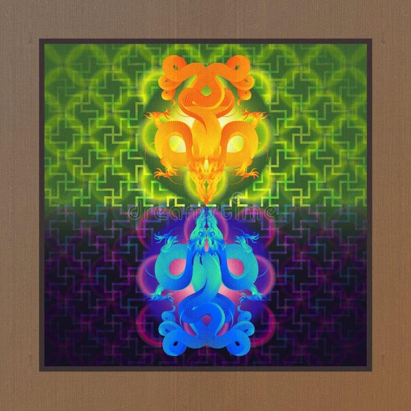 Δίδυμος χρυσός και μπλε δράκος διανυσματική απεικόνιση