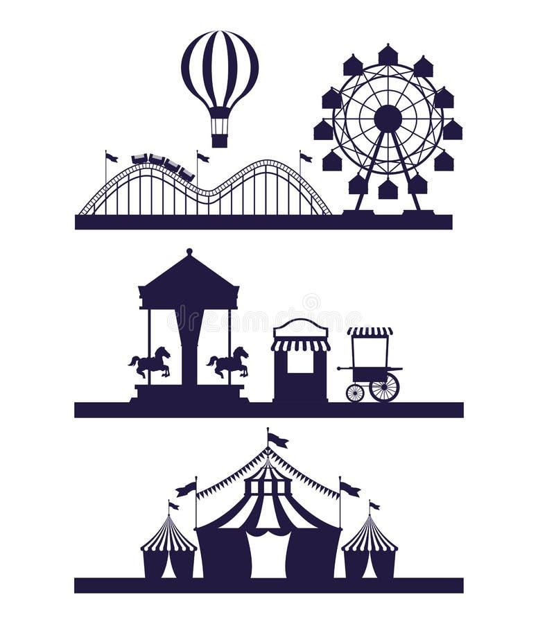 Δίκαια καθορισμένα σενάρια φεστιβάλ τσίρκων των μπλε και άσπρων χρωμάτων απεικόνιση αποθεμάτων