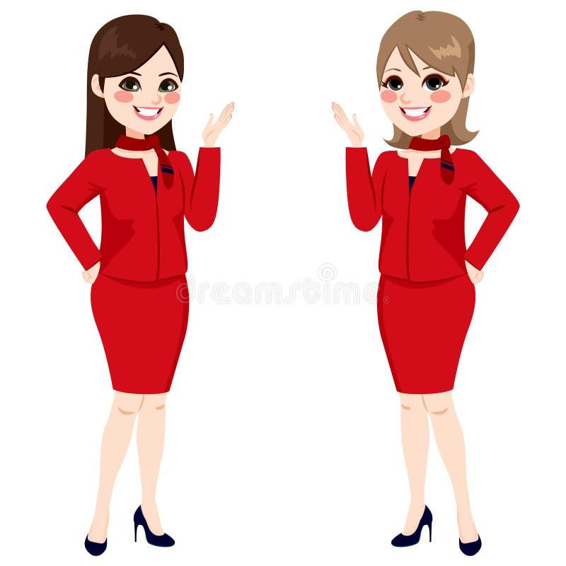 Δίκαιες γυναίκες αεροσυνοδών απεικόνιση αποθεμάτων