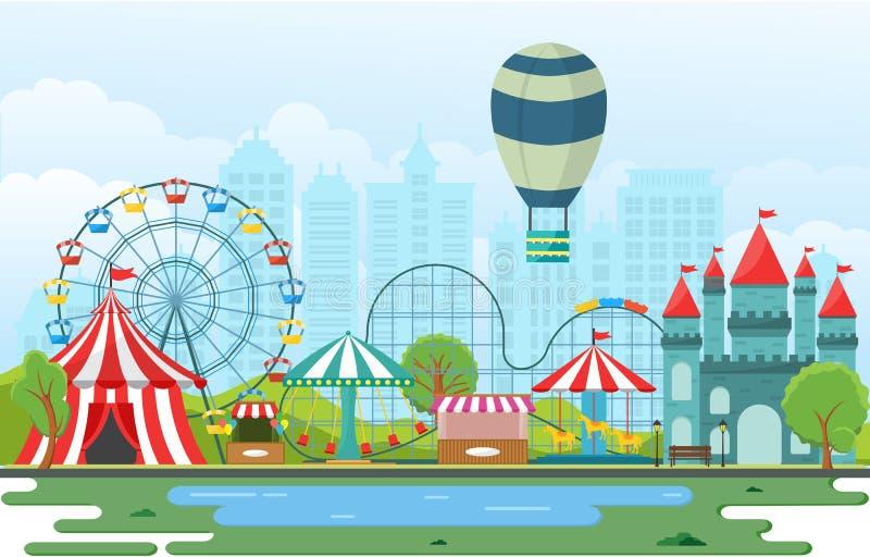 Δίκαιη απεικόνιση τοπίων διασκέδασης φεστιβάλ καρναβαλιού τσίρκων λούνα παρκ διανυσματική απεικόνιση